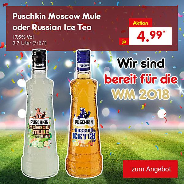 Puschkin Moscow Mule oder Russian Ice Tea 17,5% Vol. 0,7 Liter (7.13 / l), für je nur 4.99 €*