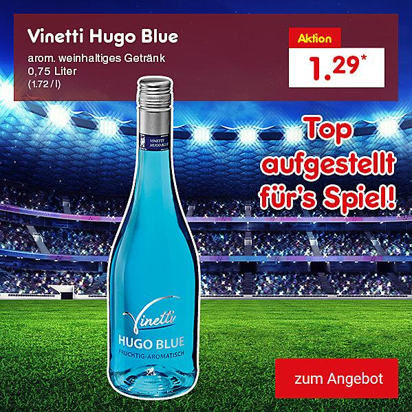 Vinetti Hugo Blue arom. weinhaltiges Getränk 0,75 Liter (1.72 / l), für je nur 1.29 €*