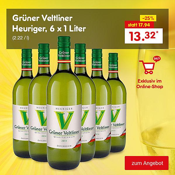 Exklusiv im Online Shop - Grüner Veltliner Heuriger, 6 x 1 Liter, für nur 13.32 €*