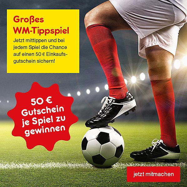WM Tippspiel: Mittippen und bei jedem Spiel die Chance auf einen 50 € Einkaufsgutschein sichern