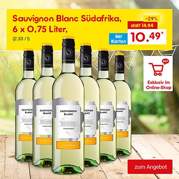 Exklusiv im Online Shop - Sauvignon Blanc Südafrika, 6 x 0,75 Liter, für nur 10.49 €*