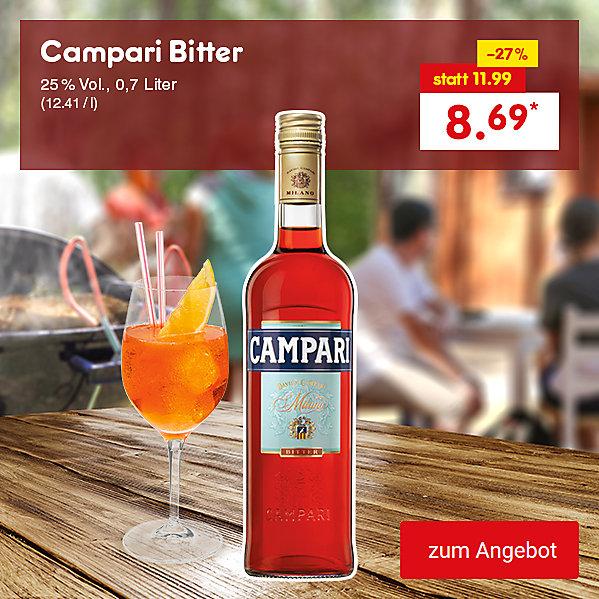 Campari Bitter, 25% Vol., 0,7 Liter (12.41 / l), für nur 8.69 €*