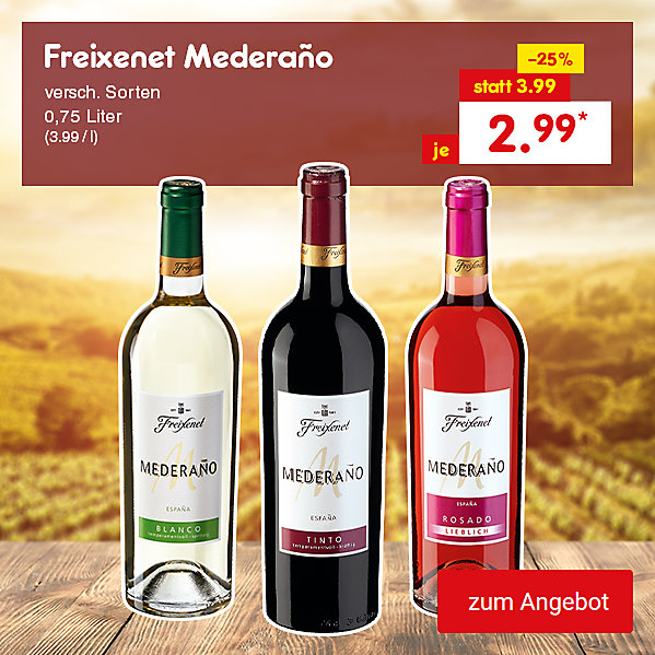 Freixenet Mederaño versch. Sorten, 0,75 Liter (3.99 / l), für nur 2.99 €*