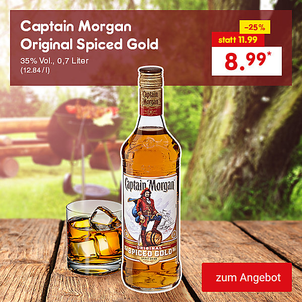 Captain Morgan Original Spiced Gold, 35% Vol., 0,7 Liter (12.84 / l), für nur 8.99 €*