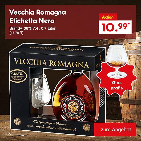 Vecchia Romagna Etichetta Nera Brandy, 38% Vol., 0,7 Liter (15.70 / l), für nur 10.99 €*