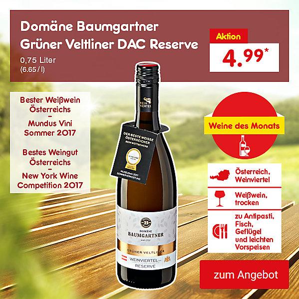 Unsere Weine des Monats - Domäne Baumgartner Grüner Veltliner DAC Reserve 0,75 Liter (6.65 / l), nur 4.99 €*