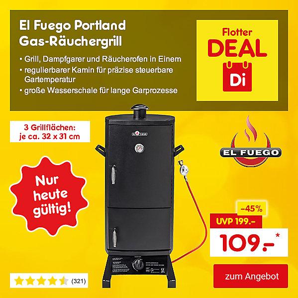 Flotter Deal - El Fuego Portland Gas-Räuchergrill, für nur 109.- €*