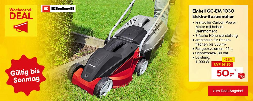 Nur dieses Wochenende: Einhell GC-EM 1030 Elektro-Rasenmäher für nur 50.- €