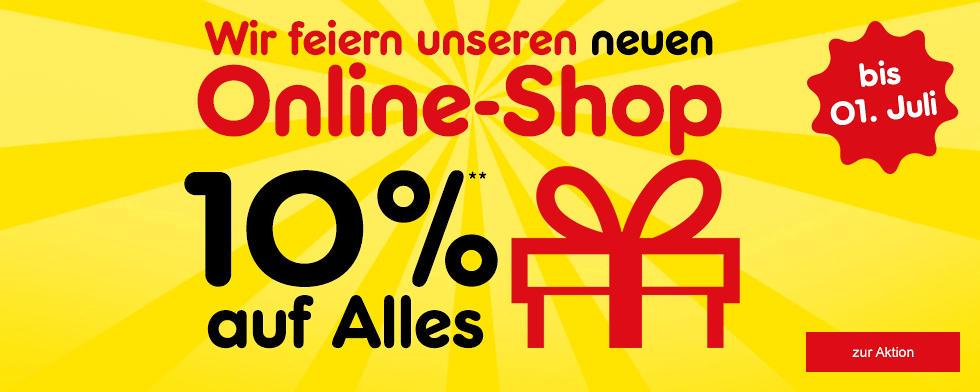 Wir feiern unseren neuen Online-Shop und Sie erhalten 10% auf Alles