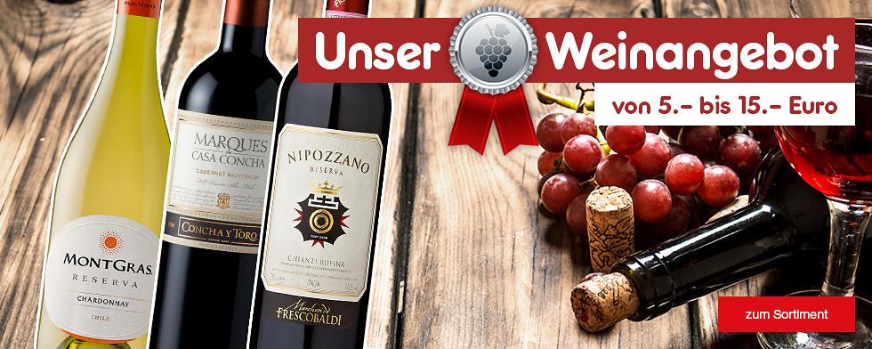 Unser Weinangebot von 5.- bis 15.- Euro