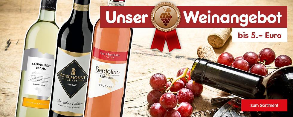Unser Weinangebot bis 5.- Euro