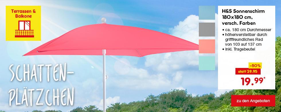 Schattenplätzchen - H&S Sonnenschirm 180 x 180 cm, versch. Farben, nur 19.99*