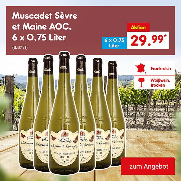 Muscadet Sèvre et Maine AOC, 6 x 0,75 Liter (6.67 / l), für je nur 29.99 €*
