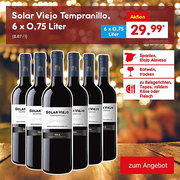 Solar Viejo Tempranillo, 6 x 0,75 Liter (6.67 / l), für je nur 29.99 €*