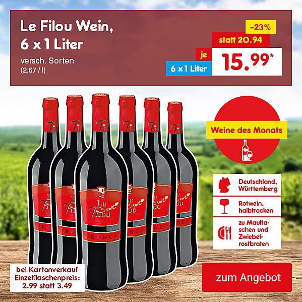 Le Filou Wein, 6 x 1 Liter versch. Sorten (2.67 / l), für je nur 15.99 €*