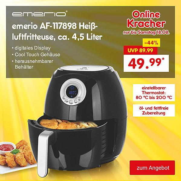 Onlinekracher - emerio AF-117898 Heißluftfritteuse, ca. 4,5 Liter, nur 49.99 €*
