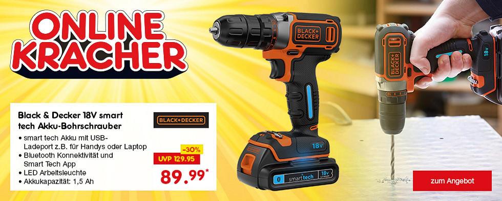 Onlinekracher - Black & Decker 18V smart tech Akku-Bohrschrauber nur 89.99*