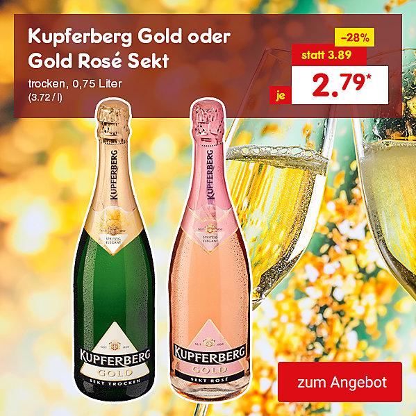 Kupferberg Gold oder Gold Rose Sekt trocken 0,75 Liter (3.72 / l), für nur 2.79 €*