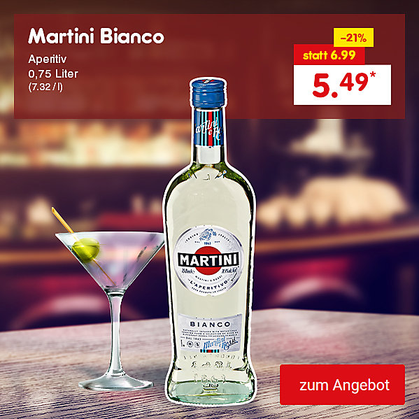 Martini Bianco Aperitif 0,75 Liter (7.32 / l), für nur 5.49 €*