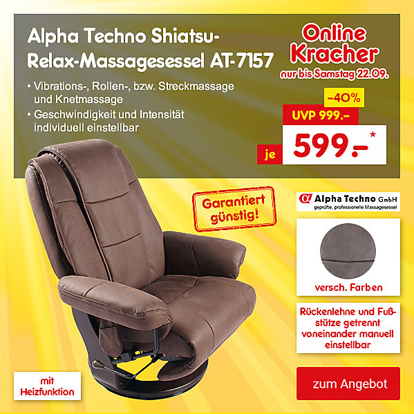 Onlinekracher - Alpha Techno Shiatsu-Relax-Massagesessel AT-7157, für nur 599.- €*