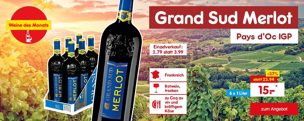 Unsere Weine des Monats - Grand Sud Merlot Pays d'Oc IGP 6er Karton, für nur 15.- €*