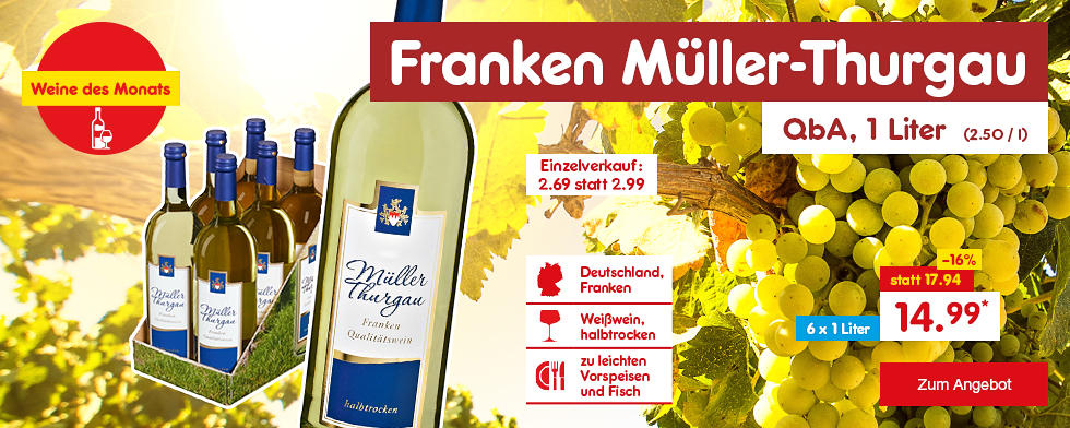 Unsere Weine des Monats - Franken Müller-Thurgau QbA 6er Karton, für nur 14.99 €*