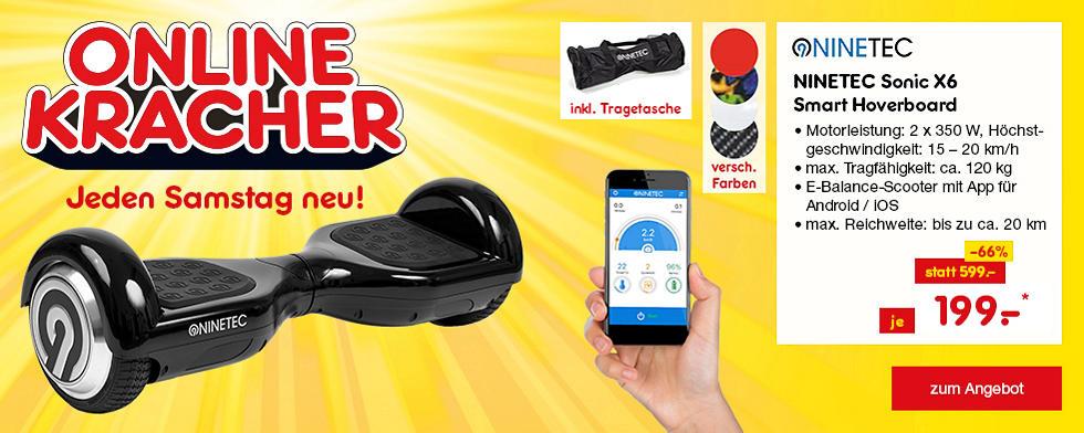 Onlinekracher - NINETEC Sonic X6 Smart Hoverboard 6,5 Zoll E-Balance-Scooter mit App für Android/iOS, nur 199.- €*