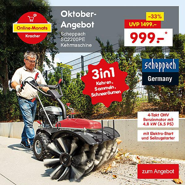 Online-Monats Kracher - scheppach SC2200PE Kehrmaschine, nur 999.- €*