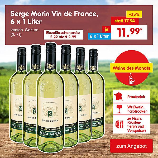 Weine des Monats - Serge Morin Vin de France, 6 x 1 Liter versch. Sorten (2.- / l), für nur je 11.99 €*