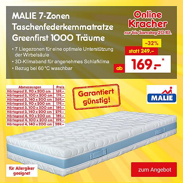Onlinekracher - MALIE 7-Zonen Taschenfederkernmatratze Greenfirst 1000 Träume, für ab 169.- €*