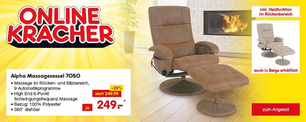 Onlinekracher - Alpha Relax Massagesessel 7050 mit Heizfunktion in Braun oder Beige, je nur 249.- €*