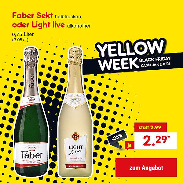 Faber Sekt oder Light live, 0,75 Liter (3.05 / l), für nur 2.29 €*