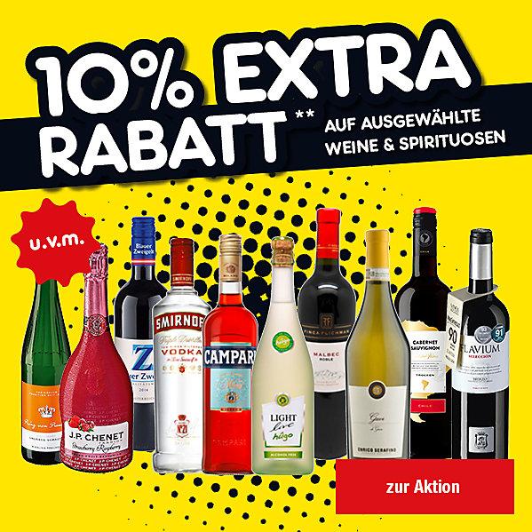 10 Prozent extra Rabatt auf ausgewählte Weine und Spirituosen!