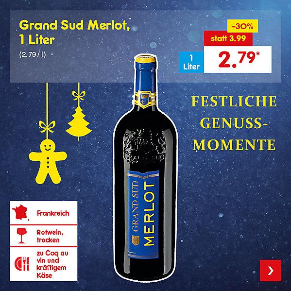 Grand Sud Merlot, 1 Liter (2.79 / l), für nur 2.79 €*