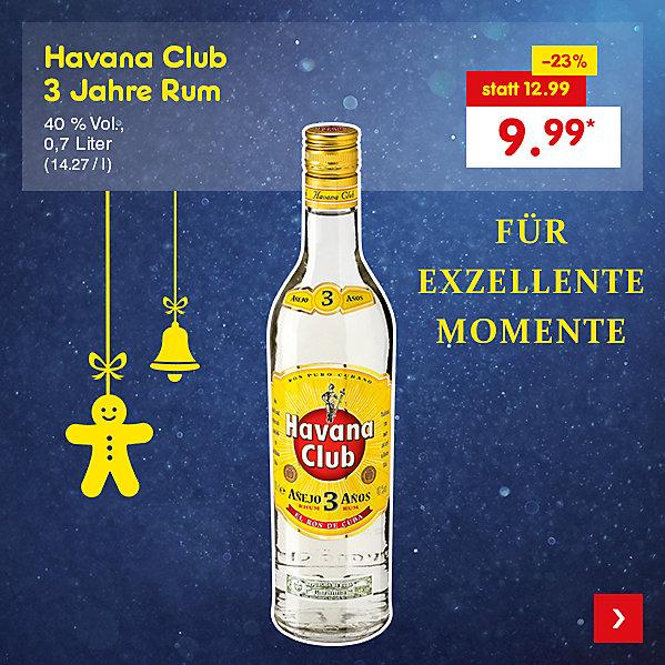 Havana Club 3 Jahre Rum, 0,7 Liter (14.27 / l), für nur 9.99 €*