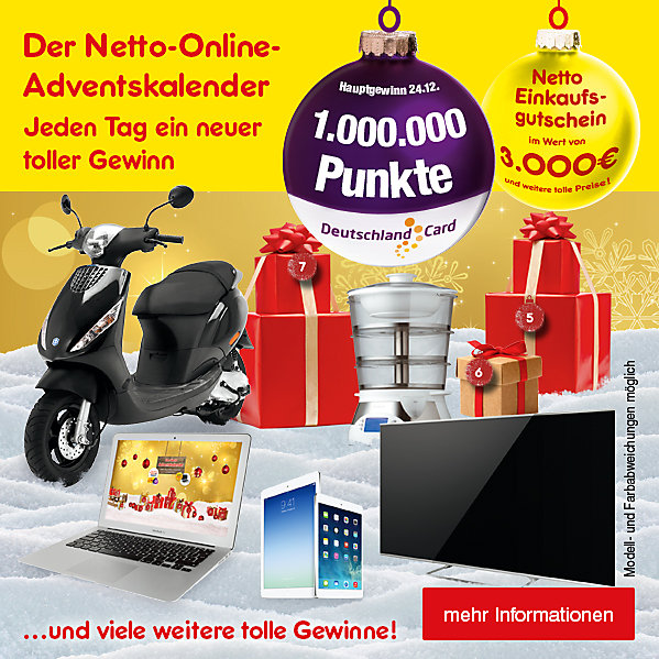 Der Netto-Online-Adventskalender - jeden Tag suchen, auspacken und gewinnen!