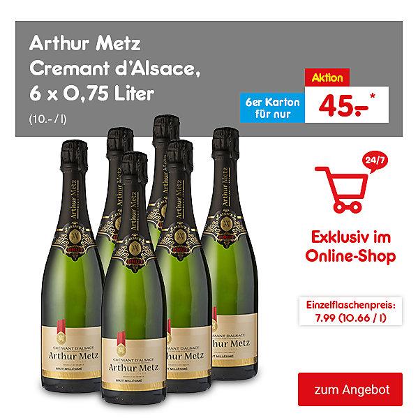 Exklusiv im Online-Shop: Arthur Metz Cremant d'Alsace, 6 x 0,75 Liter (10.- / l), für nur 45.- €*