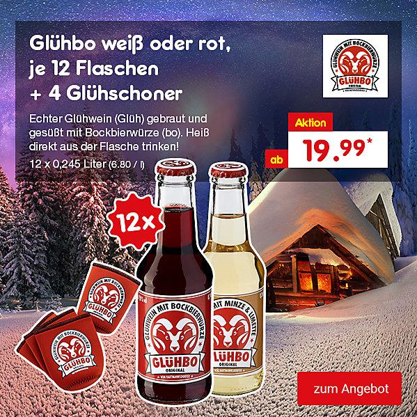 Glühbo weiß oder rot, 12 Flaschen + 4 Glühschoner, 12 x 0,245 Liter (6.80 / l), für nur 19.99 €*