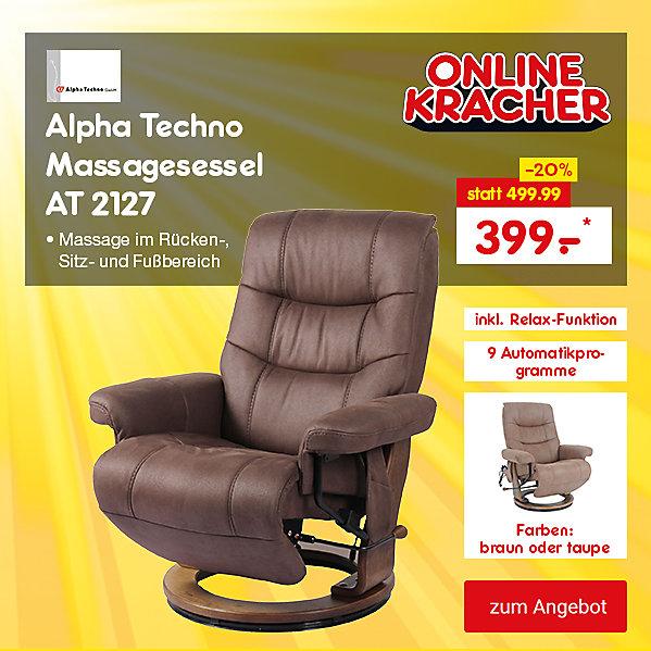 Unser Online Kracher der Woche: Alpha Techno Massagesessel 2127, nur 399.- €*