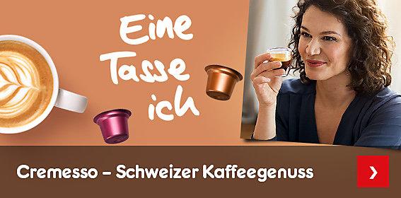 Cremesso - eine Tasse ich - mit Schweizer Kaffeegenuss