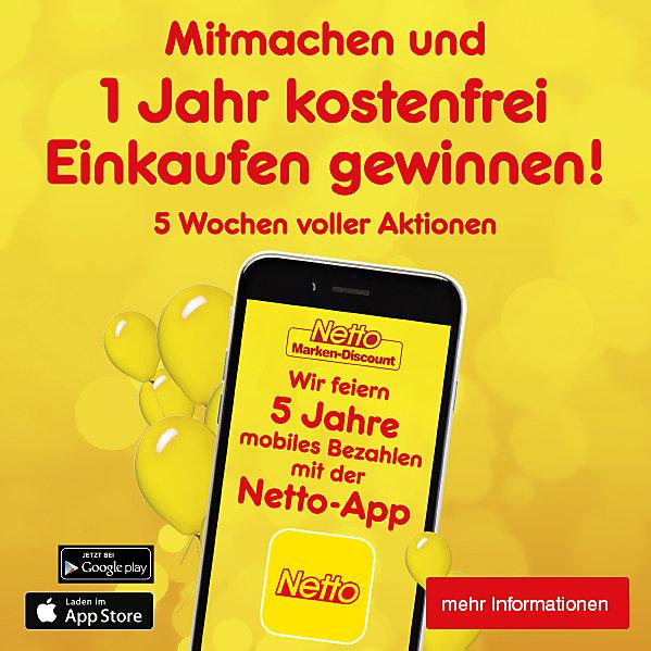 Wir feiern 5 Jahre mobiles Bezahlen mit der Netto-App: mitmachen und 1 Jahr kostenfrei Einkaufen gewinnen! 5 Wochen voller Aktionen