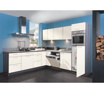 Küchen zeile Royal 270 x 250 cm weiß glänzend - Anschlag rechts