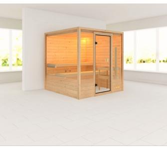 Woodfeeling Ilya 38 mm Sauna, ohne Dachkranz