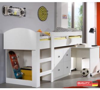 Wimex Halbhochbett Lenny mit Schreibtisch und Kommode - Alpinweiß