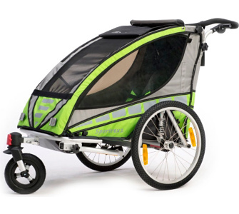 Qeridoo Sportrex1 Kinderfahrradanhänger Aluminium grün