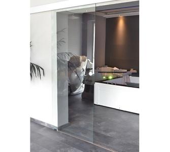 Home Deluxe Glasschiebetür mit Klarglas und Muschelgriff, 90cm