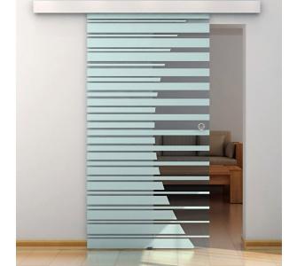 Home Deluxe Glasschiebetür im Streifendesign mit Muschelgriff, 90cm