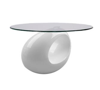 IOVIVO Couchtisch oval mit Glasplatte