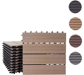 WPC Bodenfliese Rhone, Holzoptik Balkon/Terrasse, 11x je 30x30cm = 1qm, heute-wohnen, Braun