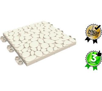 LOP Clickfloor Bodenfliese steinweiß, 30x30 cm, 8 Stück - ausreichend für 240 cm Gartenweg, Dominik Gartenparadies